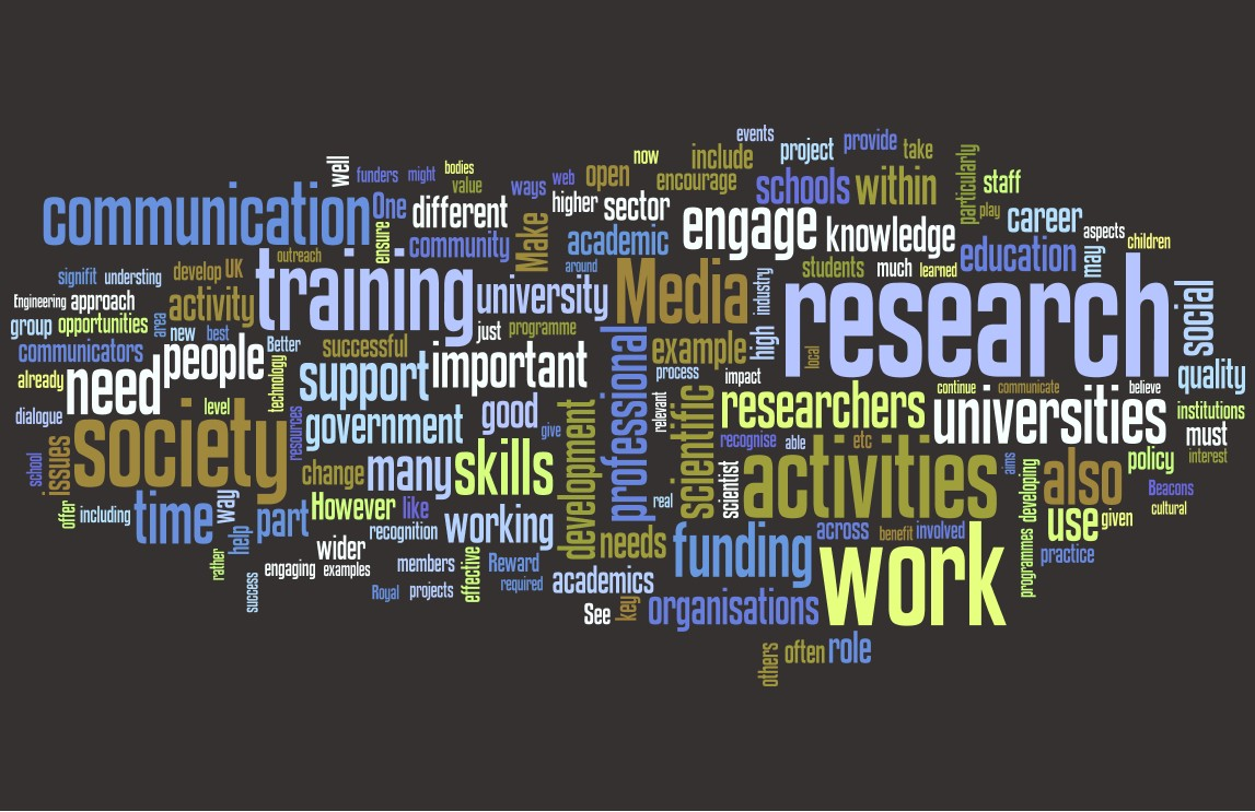 DIUS wordle from the Vision for Science and Society consultation