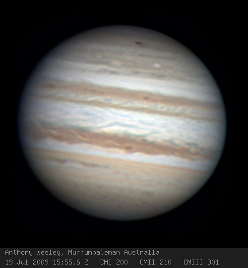 Discovery image of the impact on Jupiter