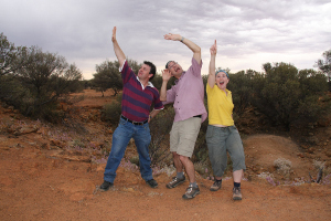 INCOMING!!!! Astronomers acting silly at Dalgaranga meteorite crater