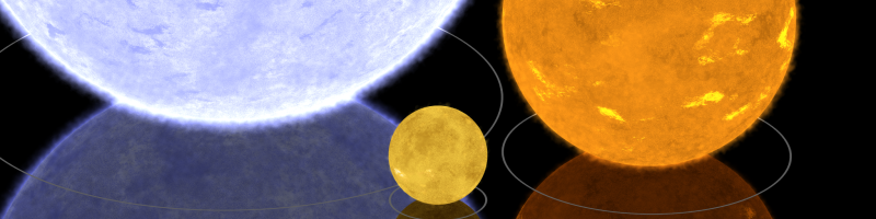 Gamma Orionis, Algol B and the Sun, to scale