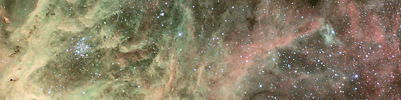 The Tarantula Nebula in the Large Magellanic Cloud (LMC) and its surroundings.