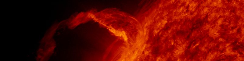 Soon after the instruments opened their doors, the Sun began performing for SDO with this beautiful prominence eruption. This AIA data is from March 30, 2010, showing a wavelength band that is centered around 304 Å. This extreme ultraviolet emission line is from singly ionized Helium, or He II, and corresponds to a temperature of approx. 50,000 degrees Celsius.