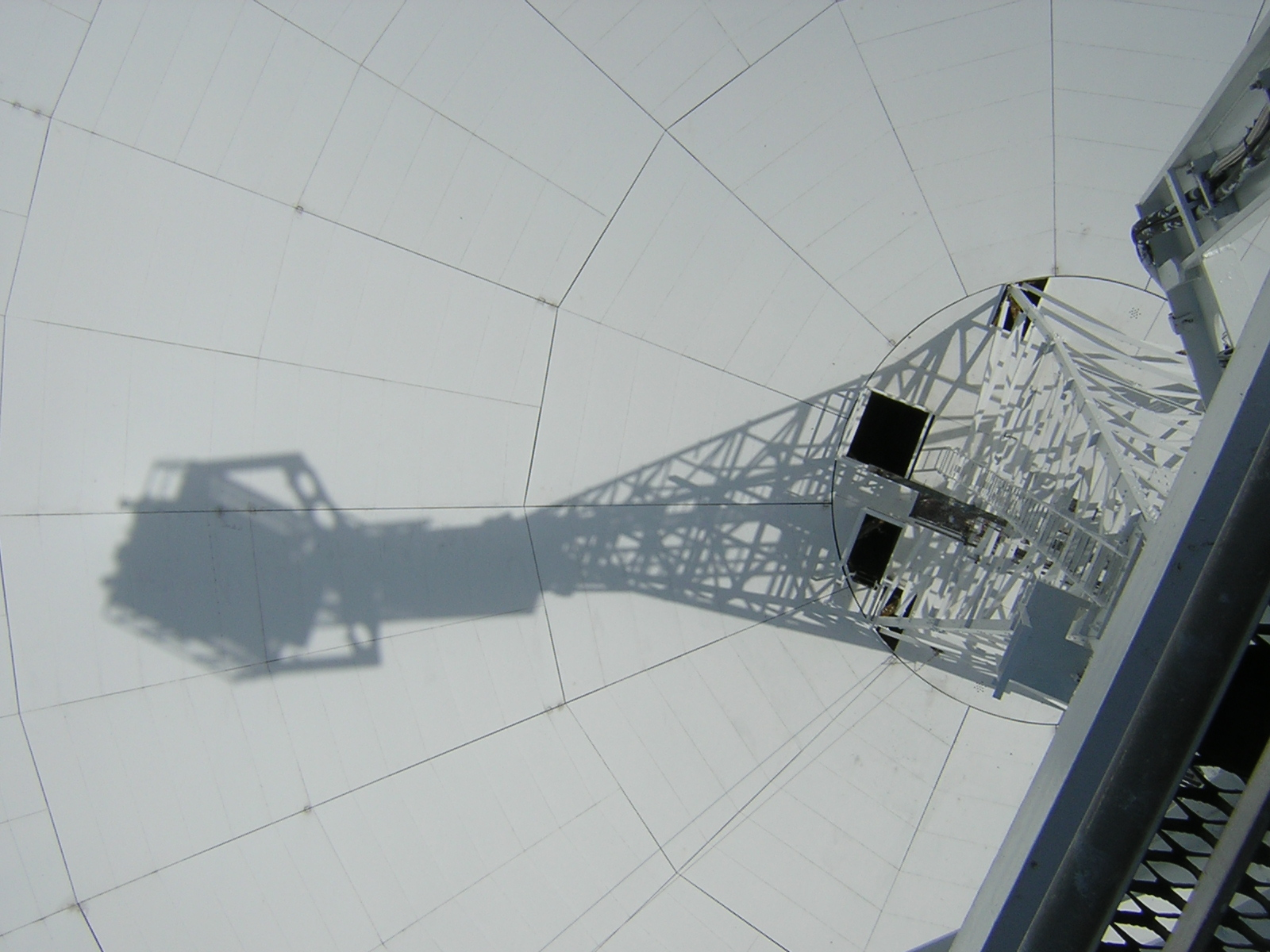 The bowl of the Lovell telescope from the top of the focus tower